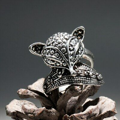 Collect China Old Miao Silver Hand-Carved Lovely Fox Delicate Noble Decor Ring