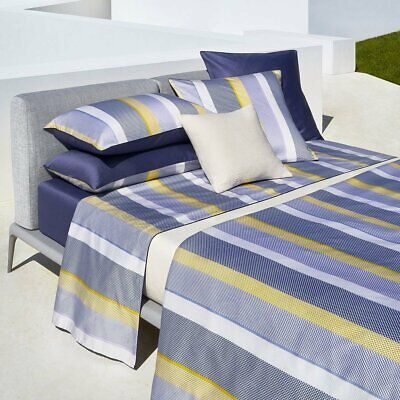 COTTON SATEEN FITTED SHEET IN NAVY MICRO GEOMETRIC PRINT ELEMENTS BY HUGO BOSS
