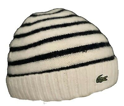 LACOSTE WOMAN/'S BEANIE HAT RB4413 Pink /& Grey Stripe SMALL// MEDIUM NEW
