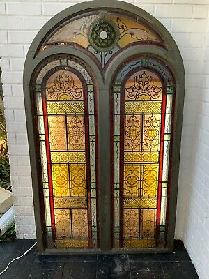 Antique Architechural Salvage Arched Hand Painted Multicolor Leaded Glass Window