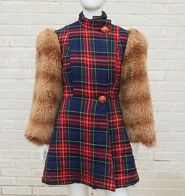 BETSEY JOHNSON Alley Cat WOOL Plaid COAT With Faux Fur Sleeves