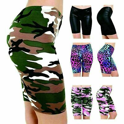 NEW WOMENS CYCLING SHORTS LADIES STRETCH PRINT PATTERN GYM SHORTS PLUS SIZE 8-22