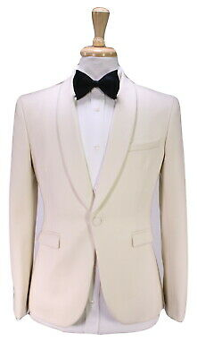 JOSHUA KANE London Bespoke Solid Cream 1-Btn Shawl Dinner Slim Suit 36R