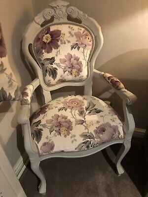 Shabby Chic French Louis Style Dining Chair Laura Ashley peony garden amethyst