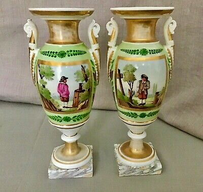 Old Paris Sevres Style Gilt Polychrome Porcelain Green Mantel Urn Set