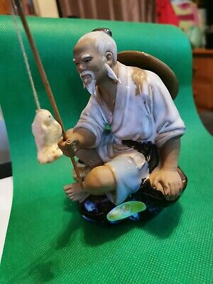 Chinese Mudman Figurine Shiwan Fisherman Excellent Condition