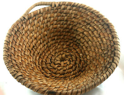 Antique 19th Century Hand Woven Rye Straw Basket with One Handle