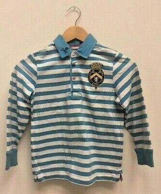 Boys Tom Joules  Blue Striped Rugby Long Sleeve Top Age 8 Years