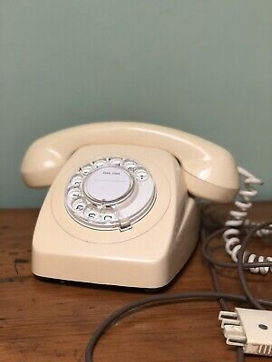 Vintage Original Rotary Dial Telephone Phone Cream ~ Working. Ready To Plug In !