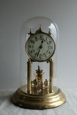 EDGAR HENN (H. Eule) Anniversary/Torsion 400-Day Clock - with Glass Dome
