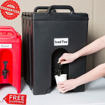 2x CAMBRO 11.75 Gallon Black Insulated Hot Cold Beverage Cooler Dispenser Large
