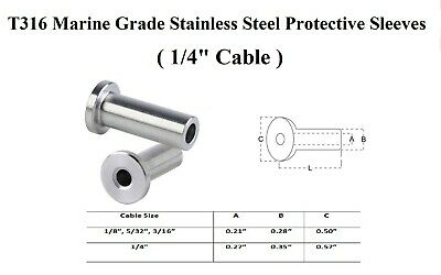 """Stainless Steel Protective Sleeves (1/4"""" Cables) 316 Marine Grade"""
