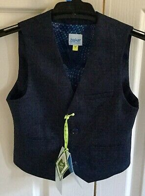 Ted Baker Boy's Navy Waistcoat Vest Age 7 New With Tags Wedding Formal RRP 60AUD