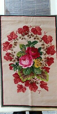 Gorgeous floral tapestry needlepoint wallhanging 58x90 cm - very good