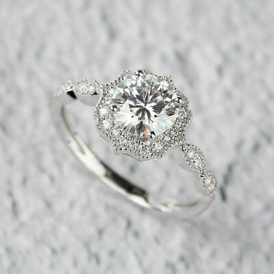 Engagement Ring For Women's 1.25 Ct Lab-crated Diamond Round Cut 14K White Gold