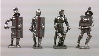 Four Roman Gladiator Figures in Fine Pewter