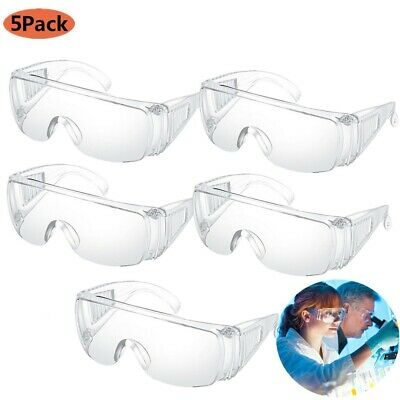 5x Clear Lens Anti-impact Eye Protection Goggles Protective Lab Safety Glasses D