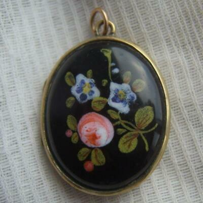 Antique Victorian Black Ceramic Painted Floral Display Mourning Photo Locket