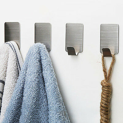 6x Adhesive Kitchen Wall Door Stainless Steel Square Stick Holder Hooks Hang LY