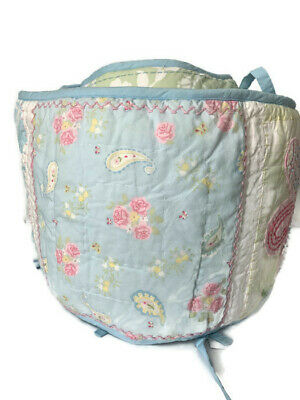Pottery Barn Kids Crib Bumper Baby Girl Blue Floral Paisley Patchwork
