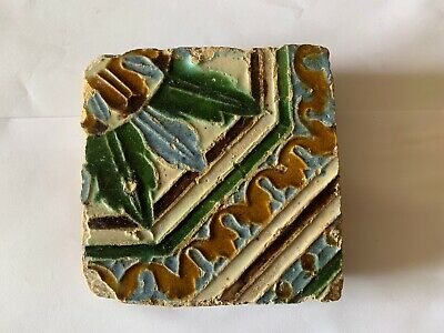 Rare Antique 16th century original Islamic Ceramic Tile Majolica Glazed Spanish