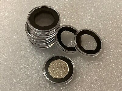 10x Fifty Pence 50p Foam Capsules For 28mm Insert 43mm External BRAND NEW