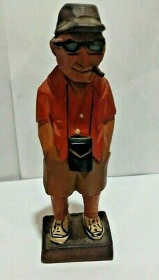 VTG Hand Carved Hand Painted  Wood Tourist fFigurine by Ely Hannah