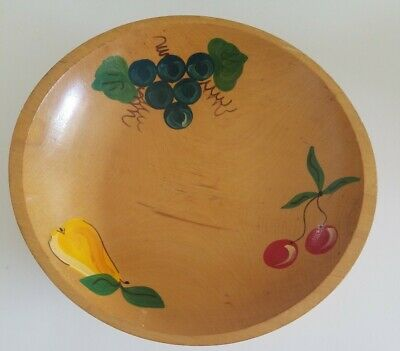 Vintage Wood Bowl Hand Painted And Carved  Wooden Fruit Bowl 11 X 10 Beautiful