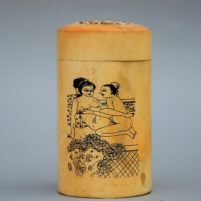 Collect China Old 0x B0ne Hand-Carved Couple Life Delicate Unique Toothpick Box