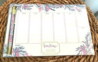 Lilly Pulitzer Undated Weekly Planner Desk Pad Pen Notepad 52 Weeks 1 Year