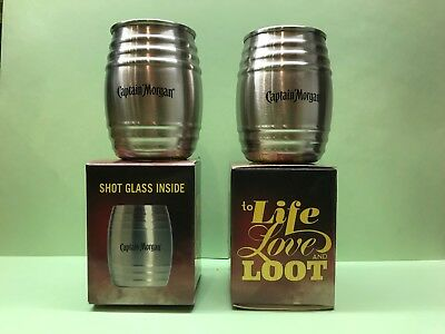 Set of 4 Captain Morgan To Life Love /& Loot Stainless Steel Barrel Shot Glasses