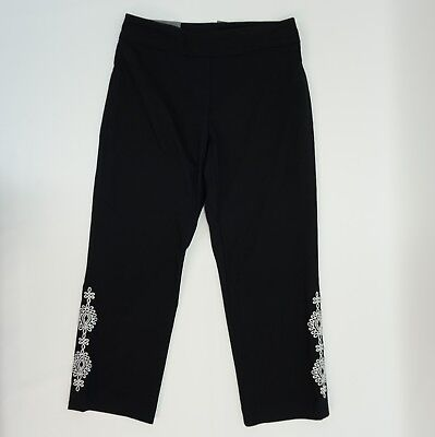 JM Collection Womens XS Pants Pull On Embroidered Cropped Capri Pants Black $49