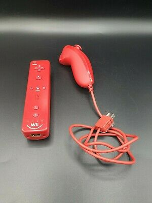 Nintendo Wii - 2 in 1 Remote Motion Plus Controller Fernbedienung  Nunchuk -Rot