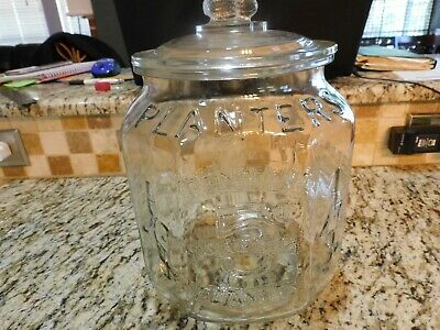OLD VINTAGE PLANTER'S PEANUTS GLASS POINT OF SALE LIDDED JAR w/ PEANUT HANDLE