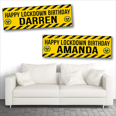 2 Personalised Lockdown Birthday Party Banners - Design 3 - Any Name/Any Message
