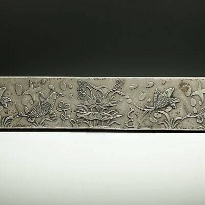 Collect Old Miao Silver Hand-Carved Fish & Lotus Auspicious Paperweight Statue