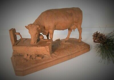 Antique Hand Carved 19th c Wooden Cow Carved in Manner of Johann Huggler FA