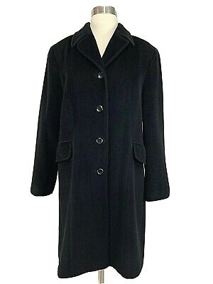 Calvin Klein Coat 8 Angora Wool Black Womens Button Long Peacoat Single Breasted