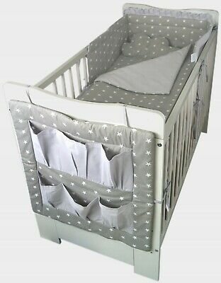 White Baby Cot/toddler bed + mattress 'PIKOLINO' with Cotton Bedding Set