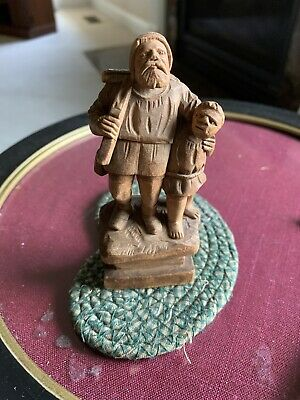 """Vintage Dated 1984 Hand Carved Wood Hunter Man W/Young Boy 4.25"""""""