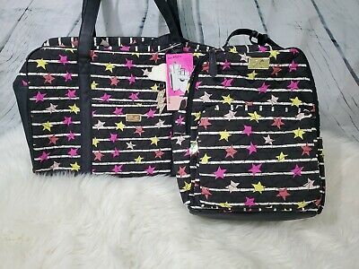 NWT Betsey Johnson Stars Large Quilted Weekender Duffel Bag Backpack 2pc Set