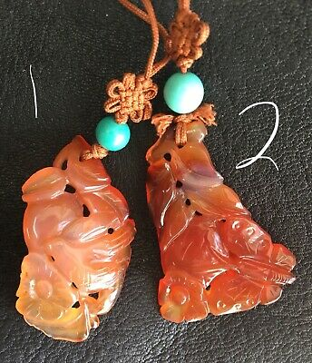 Carved Antique Chinese Carnelian With High Quality Natural Turquoise Bead