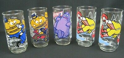 Lot of (5) VINTAGE McDONALD'S 1977 COLLECTOR SERIES GLASSES  - Ronald, Grimace
