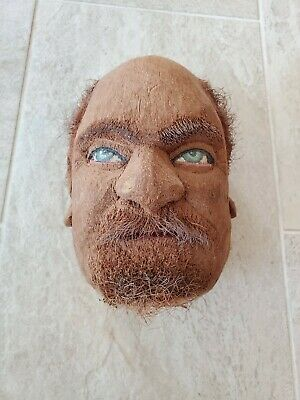 Rare Vintage Folk Art Hand Carved Coconut - Extremely Realistic