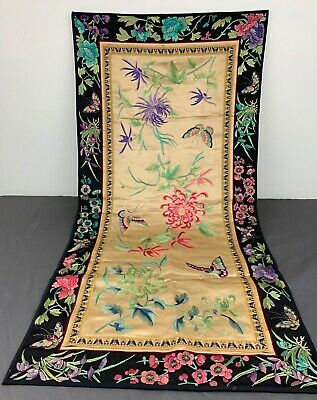"""Antique 1900s Chinese Embroidery Silk Panel With Butterflies & Flowers Large 35"""""""