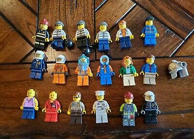 LEGO HUGE Lot of 18 Lego City Minifigures Fire Police Criminal Town People