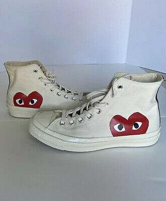 Comme Des Garcons Converse CDG Play Beige Red Heart High Top Sz 9