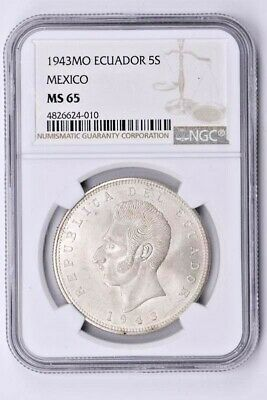 1943MO Ecuador 5 Sucres NGC MS 65, Minted in Mexico Witter Coin