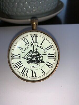 Brass Ships Pocket Watch Clock Old Antique Retro Look Supports From Melbourne