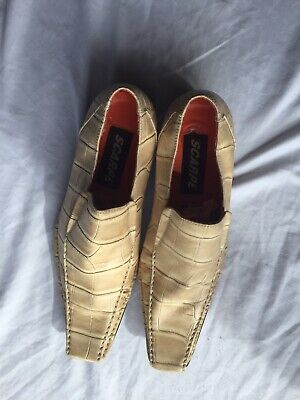 Vintage Scarpe Snakeskin Leather Pointed Shoes Size US 8